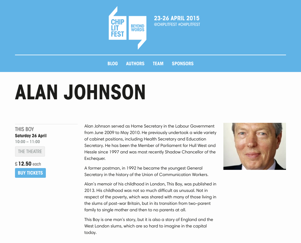 screenshot of Alan Johnson author page