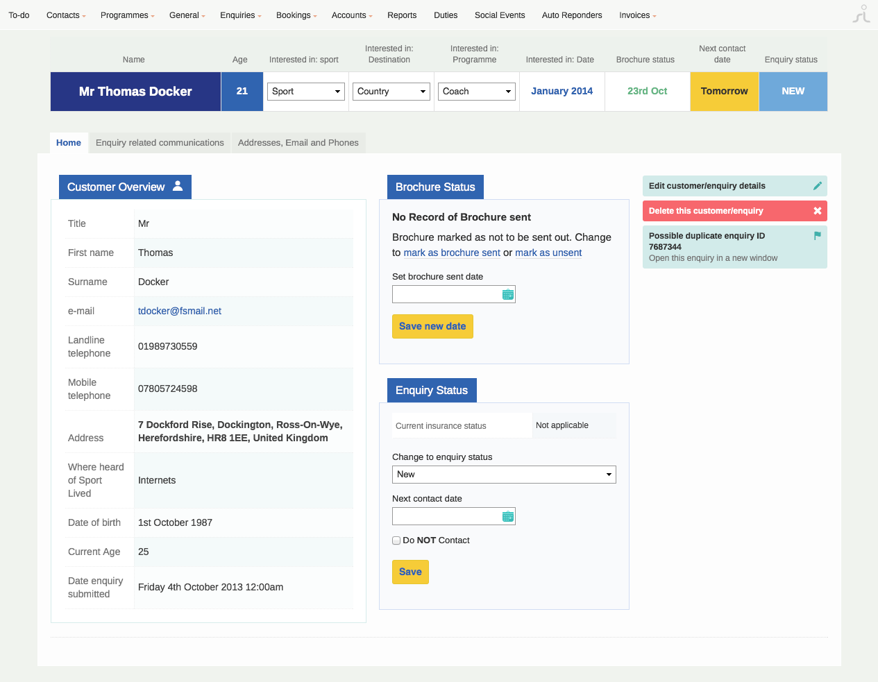 screenshot of crm enquiries page