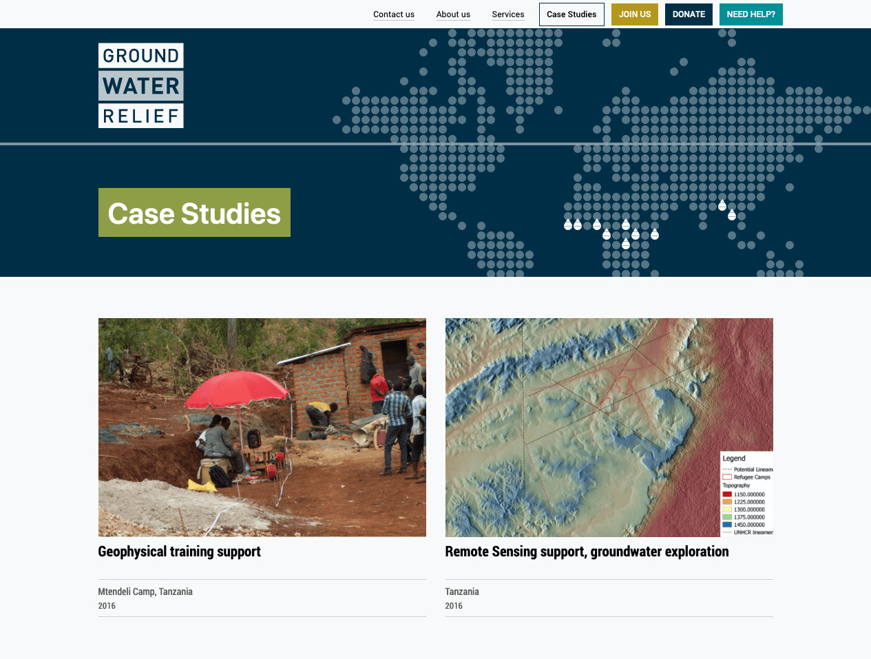 Screenshot from of Groundwater Relief Case Studies page