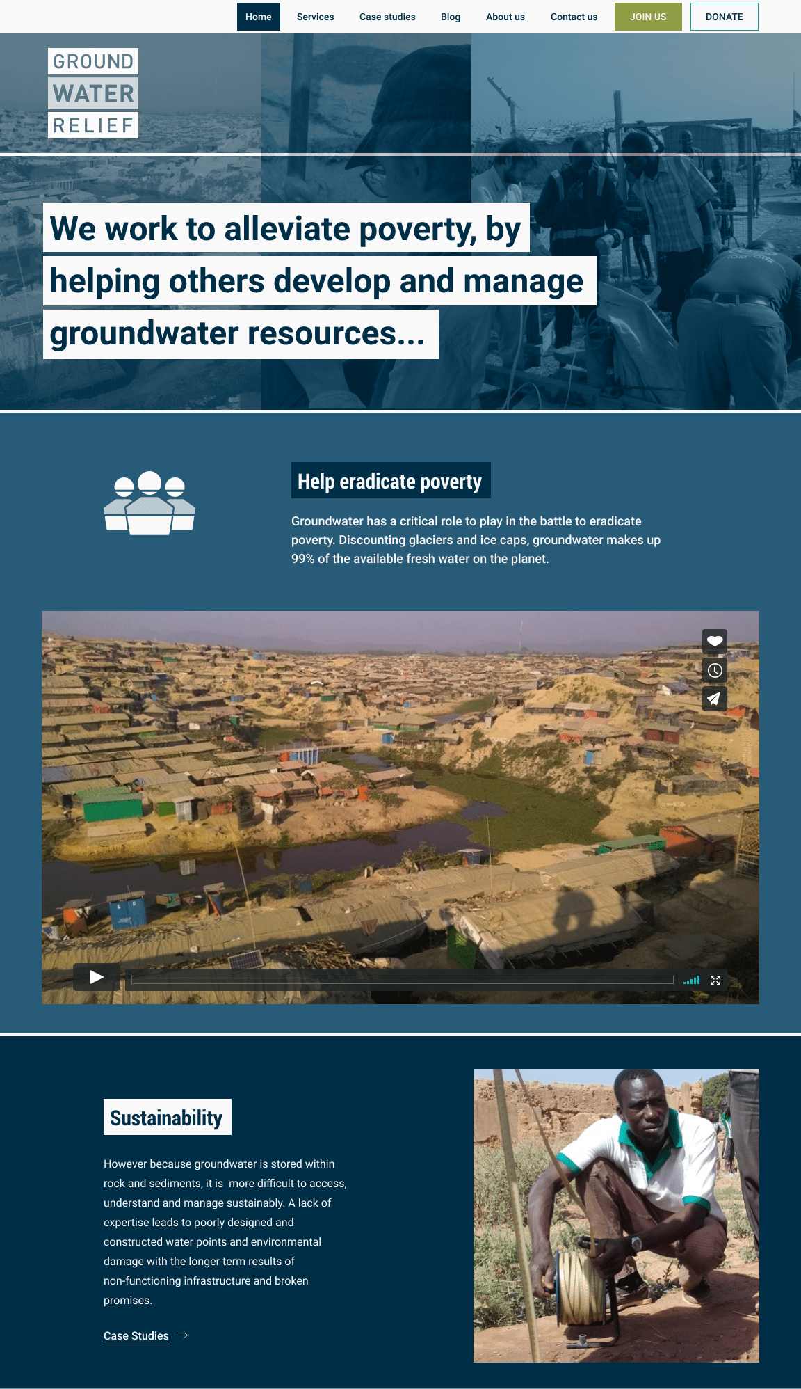 Screenshot from of Groundwater Relief homepage