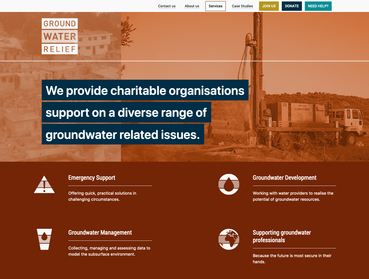Screenshot from of Groundwater Relief Services page