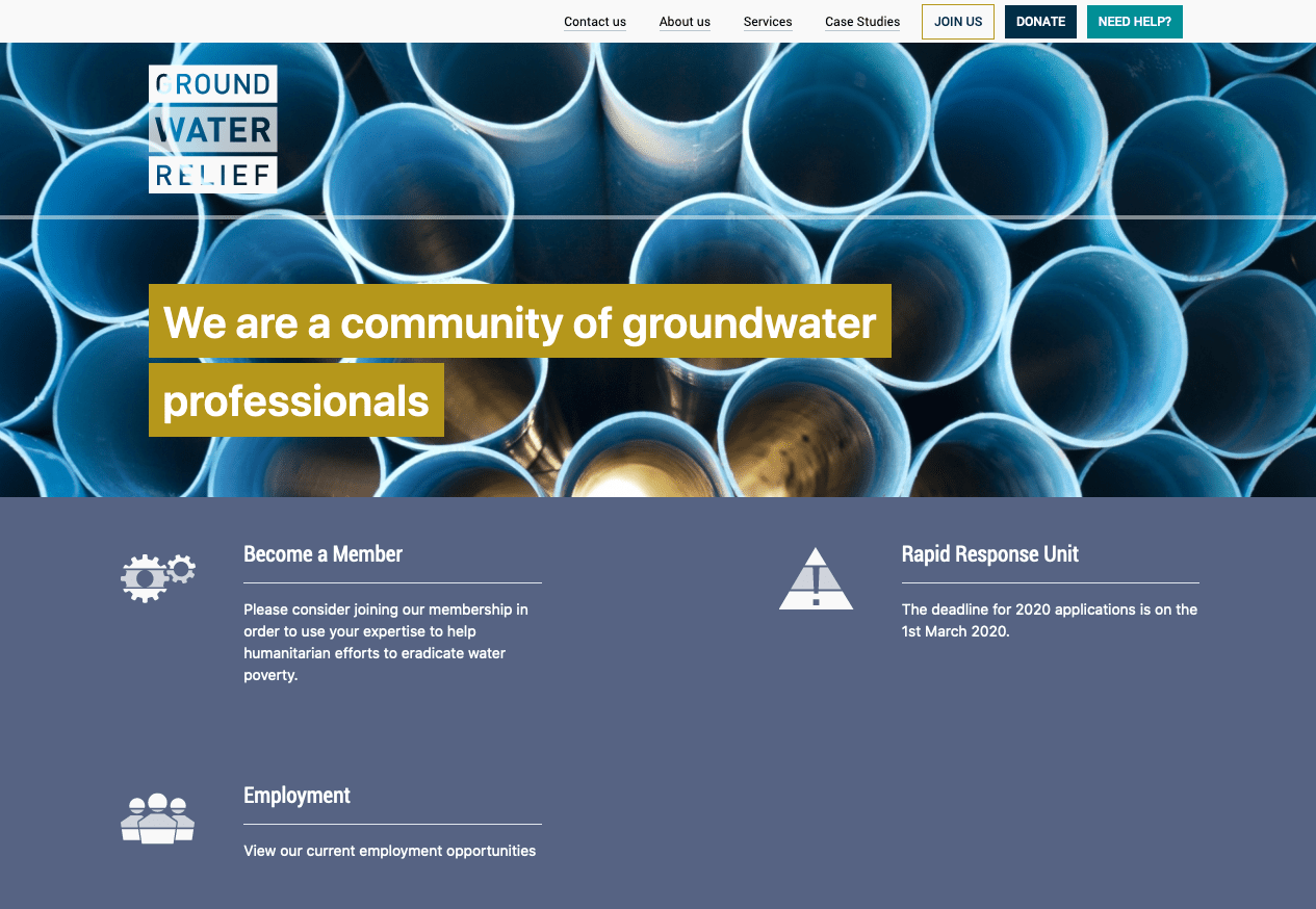 Screenshot from of Groundwater Relief Join us page